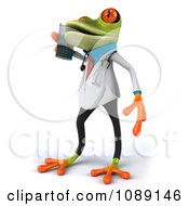 Clipart 3d Doctor Springer Frog Using A Cell Phone 2 Royalty Free CGI Illustration