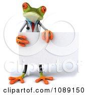 Clipart 3d Doctor Springer Frog Holding A Sign 1 Royalty Free CGI Illustration