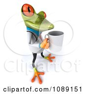 Clipart 3d Doctor Springer Frog Carrying A Coffee Mug 3 Royalty Free CGI Illustration