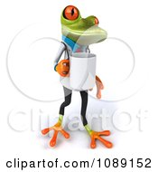 Clipart 3d Doctor Springer Frog Carrying A Coffee Mug 1 Royalty Free CGI Illustration