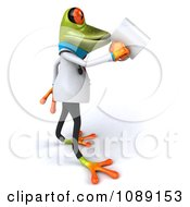 Clipart 3d Doctor Springer Frog Drinking Coffee Royalty Free CGI Illustration