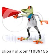Clipart 3d Doctor Springer Frog Announcing With A Megaphone 2 Royalty Free CGI Illustration