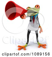Clipart 3d Doctor Springer Frog Announcing With A Megaphone 1 Royalty Free CGI Illustration