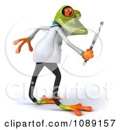 Clipart 3d Doctor Springer Frog Using A Magnifying Glass 2 Royalty Free CGI Illustration