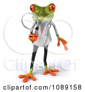 Clipart 3d Doctor Springer Frog Using A Magnifying Glass 1 Royalty Free CGI Illustration