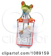 Clipart 3d Doctor Springer Frog With A Shopping Cart Royalty Free CGI Illustration