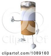 Clipart 3d Tobacco Cigarette Character Holding A Thumb Up Royalty Free CGI Illustration