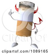3d Devil Tobacco Cigarette Character With An Idea