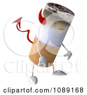 Clipart 3d Depressed Devil Tobacco Cigarette Character Royalty Free CGI Illustration by Julos