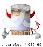 3d Thumb Up Devil Tobacco Cigarette Character With A Sign