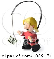 Clipart 3d Toon Woman Chasing Cash On A Stick 3 Royalty Free CGI Illustration
