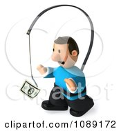 Clipart 3d Toon Guy Chasing Cash On A Stick 1 Royalty Free CGI Illustration