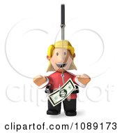 Clipart 3d Toon Woman Chasing Cash On A Stick 1 Royalty Free CGI Illustration