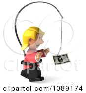 Clipart 3d Toon Woman Chasing Cash On A Stick 2 Royalty Free CGI Illustration
