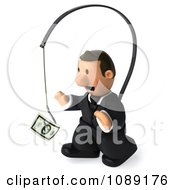 Clipart 3d Business Toon Guy Chasing Cash On A Stick 3 Royalty Free CGI Illustration