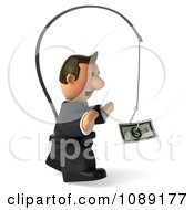 3d Business Toon Guy Chasing Cash On A Stick 2