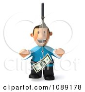 Clipart 3d Toon Guy Chasing Cash On A Stick 3 Royalty Free CGI Illustration