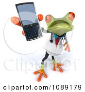 Clipart 3d Doctor Springer Frog Holding A Cell Phone 1 Royalty Free CGI Illustration