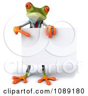 Clipart 3d Doctor Springer Frog Holding A Sign 2 Royalty Free CGI Illustration
