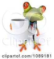 Clipart 3d Doctor Springer Frog Carrying A Coffee Mug 2 Royalty Free CGI Illustration
