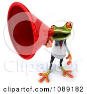 Clipart 3d Doctor Springer Frog Announcing With A Megaphone 4 Royalty Free CGI Illustration