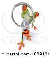 Clipart 3d Doctor Springer Frog Using A Magnifying Glass 3 Royalty Free CGI Illustration