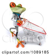 Clipart 3d Doctor Springer Frog Pushing A Shopping Cart Royalty Free CGI Illustration