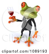 Clipart 3d Business Springer Frog Toasting With Red Wine 6 Royalty Free CGI Illustration