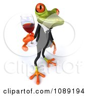 Clipart 3d Business Springer Frog Toasting With Red Wine 5 Royalty Free CGI Illustration