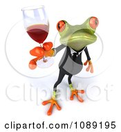 Clipart 3d Business Springer Frog Toasting With Red Wine 4 Royalty Free CGI Illustration