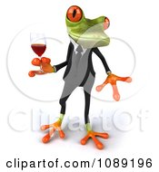 Clipart 3d Business Springer Frog Toasting With Red Wine 3 Royalty Free CGI Illustration