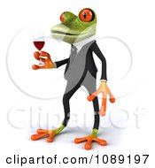 Clipart 3d Business Springer Frog Toasting With Red Wine 2 Royalty Free CGI Illustration