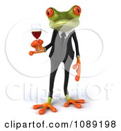 3d Business Springer Frog Toasting With Red Wine 1