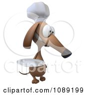 3d Chef Dachshund Dog Holding A Plate 1
