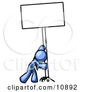 Strong Blue Man Pushing A Blank Sign Upright Clipart Illustration