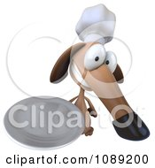 Clipart 3d Chef Dachshund Dog Holding A Plate 2 Royalty Free CGI Illustration