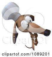 3d Chef Dachshund Dog Holding A Menu Board 4