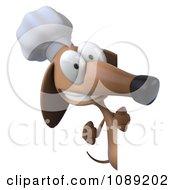 3d Chef Dachshund Dog Holding A Menu Board 3