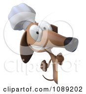 3d Chef Dachshund Dog Holding A Menu Board 3