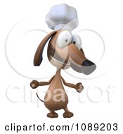 Clipart 3d Chef Dachshund Dog Shrugging 1 Royalty Free CGI Illustration