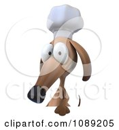 3d Chef Dachshund Dog Holding A Menu Board 1