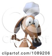 3d Chef Dachshund Dog Holding A Menu Board 2