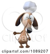 Clipart 3d Chef Dachshund Dog Presenting 1 Royalty Free CGI Illustration