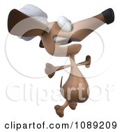 Clipart 3d Chef Dachshund Dog Jumping 2 Royalty Free CGI Illustration