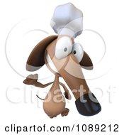 3d Chef Dachshund Dog Waving 2