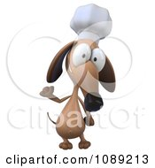 Clipart 3d Chef Dachshund Dog Waving 1 Royalty Free CGI Illustration