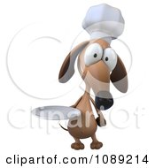 3d Chef Dachshund Dog Holding A Plate 3