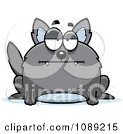 Clipart Chubby Bored Gray Wolf Royalty Free Vector Illustration