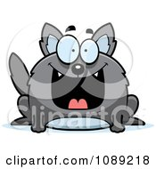 Clipart Chubby Grinning Gray Wolf Royalty Free Vector Illustration