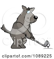Clipart Golfing Wolf Holding The Club Against The Ball On The Tee Royalty Free Vector Illustration by Cory Thoman